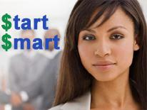 photo of woman and start smart logo