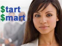 photo of woman and start smart logo